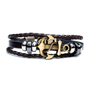 Braided Unisex Anchor Leather Bracelet