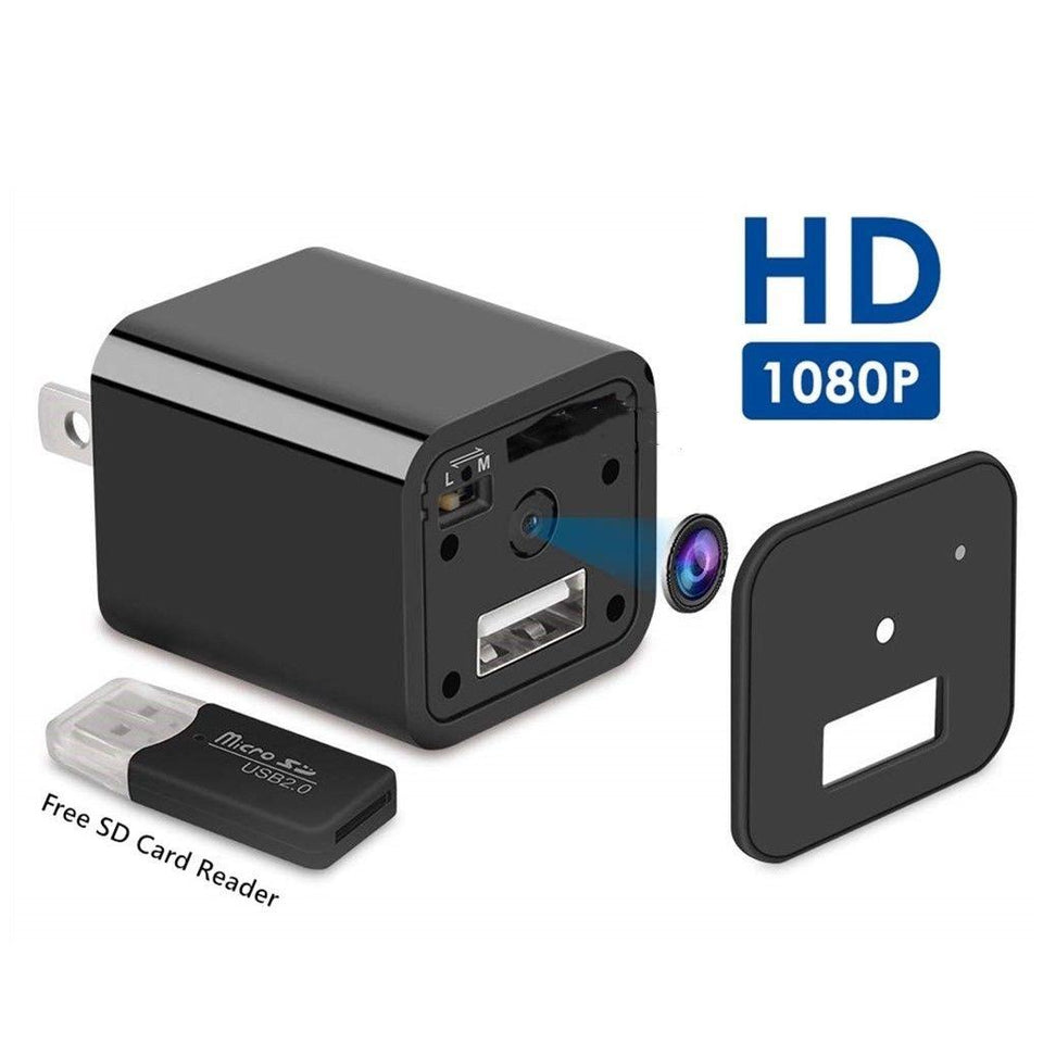 USB Wall Charger Video recorder Security Camera 1080P HD with card reader