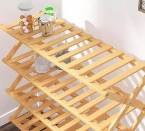 FOLDING BAMBOO SHOES RACK ORGANIZER .