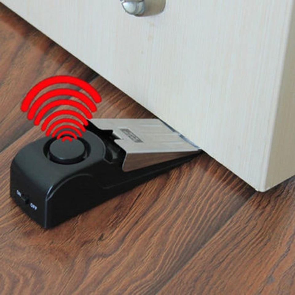 Mini Wireless Vibration Alarm Door Stop for home Alert Security System .