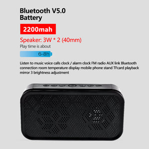 Bluetooth 5.0 Speaker Portable Wireless with Clock Mirror