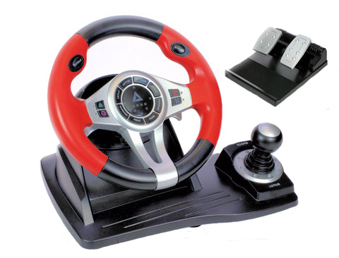 TopDrive GT450 Steering Wheel with Pedals  -  Compatible with PS3, PS4*, Xbox One* &  PC (*with Original Controller connected)