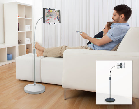 Universal Tablet Gooseneck Floor Stand (Currently available in Black only)