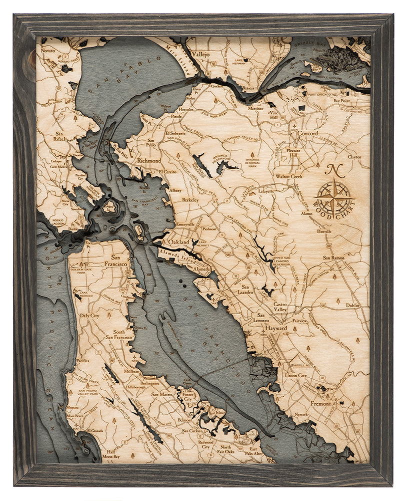 San Francisco / Bay Area Wood Carved Topographic Depth Chart / Map - Nautical Lake Art