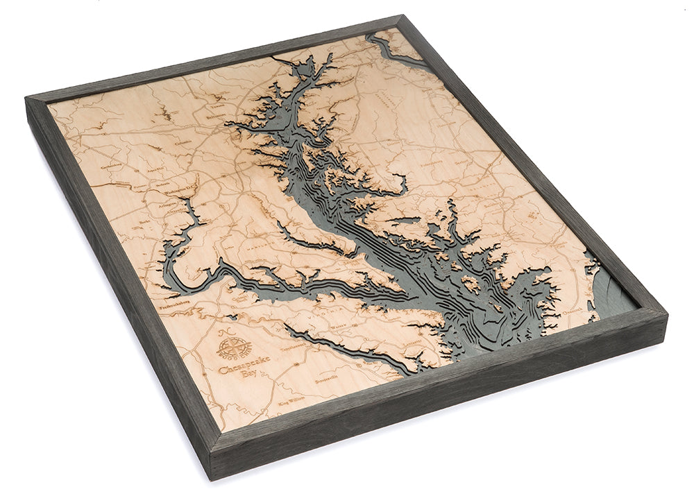 Chesapeake Bay Wood Carved Topographic Depth Chart / Map