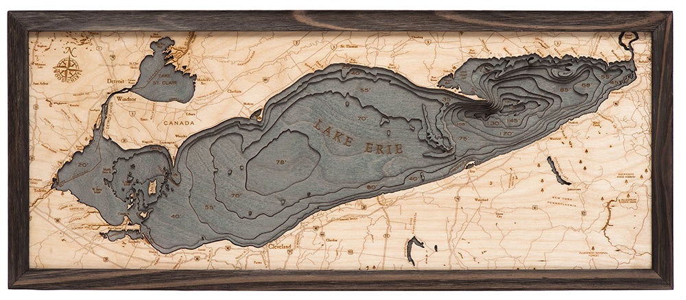 Lake Erie Wood Carved Topographic Depth Chart / Map