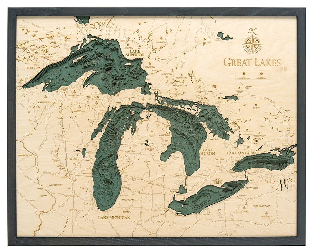 Great Lakes Wood Carved Topographical Depth Chart / Map