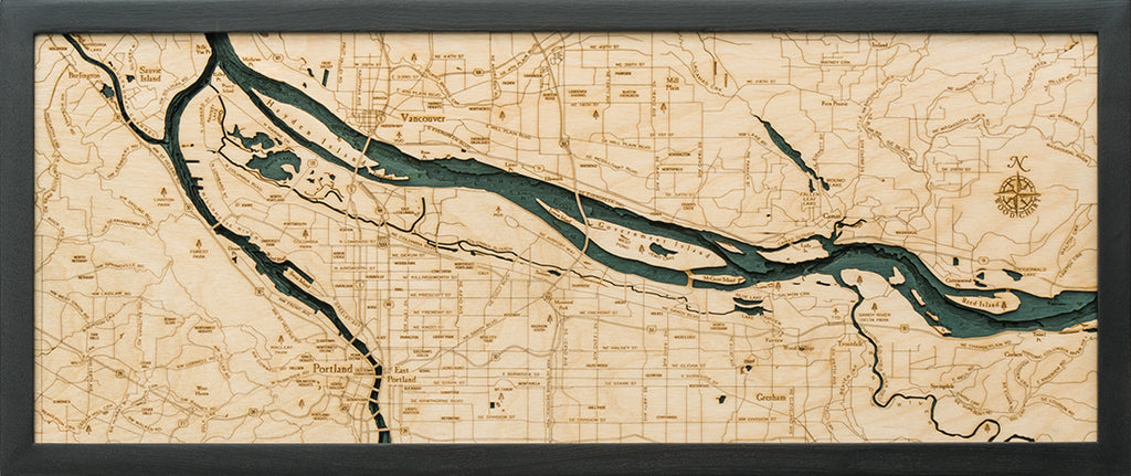 Portland, Oregon Wood Carved Topographic Depth Chart / Map - Nautical Lake Art