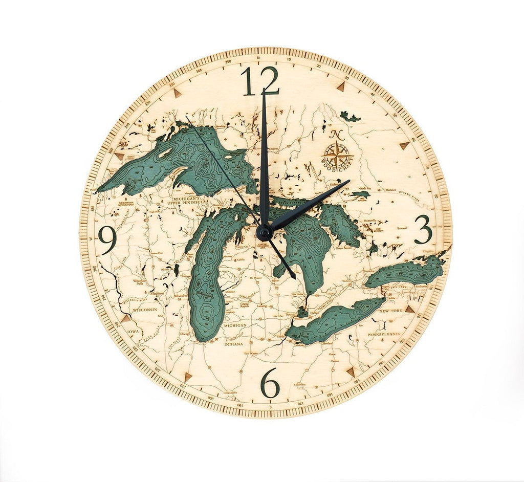 Great Lakes Wood Carved Clock - Nautical Lake Art