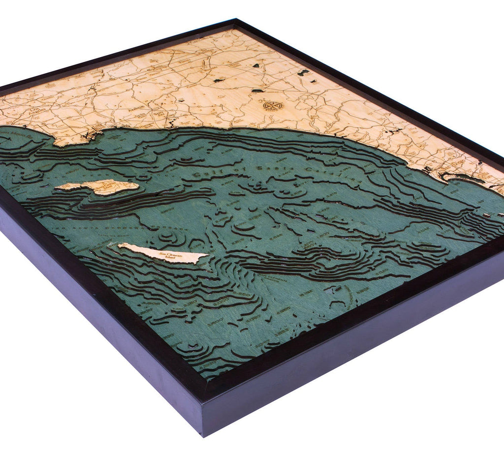 LA to San Diego Wood Carved Topographical Depth Chart / Map - Nautical Lake Art