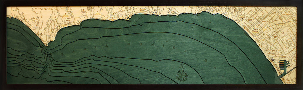 Malibu Wood Carved Topographical Depth Chart / Map - Nautical Lake Art