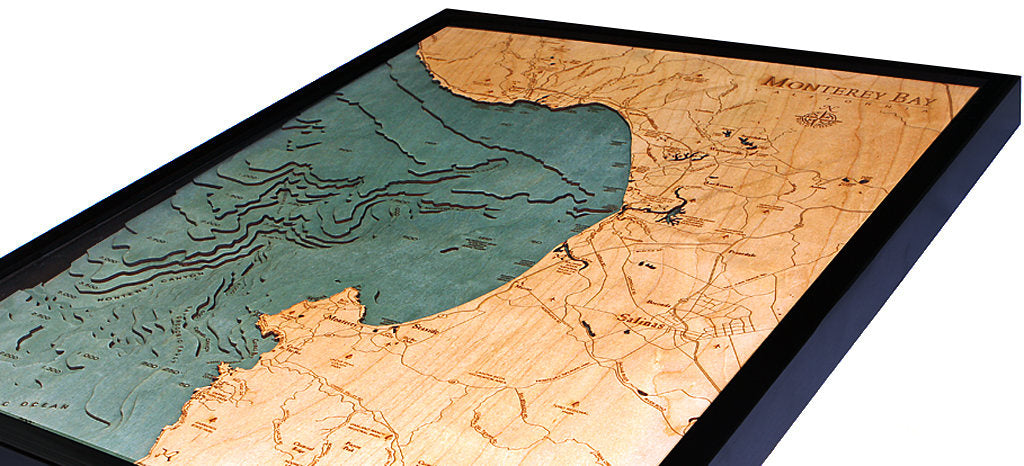 Monterey Bay Wood Carved Topographic Depth Chart / Map - Nautical Lake Art