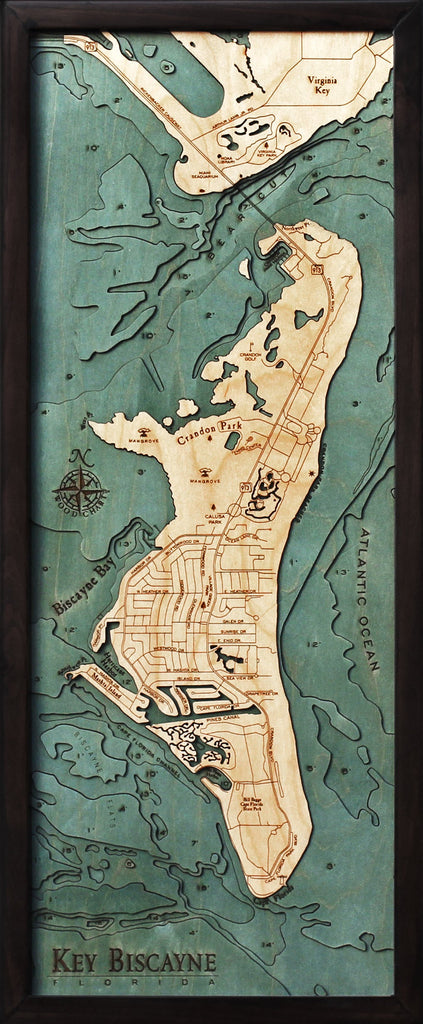 Key Biscayne Wood Carved Topographic Depth Chart / Map - Nautical Lake Art
