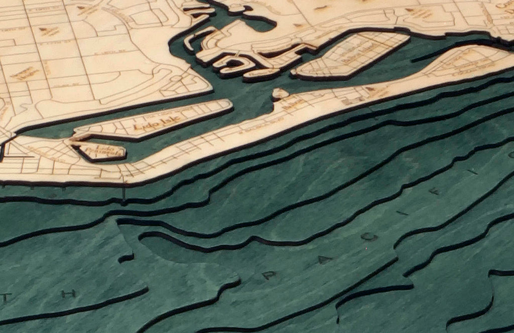 Newport Beach Wood Carved Topographic Depth Chart / Map - Nautical Lake Art