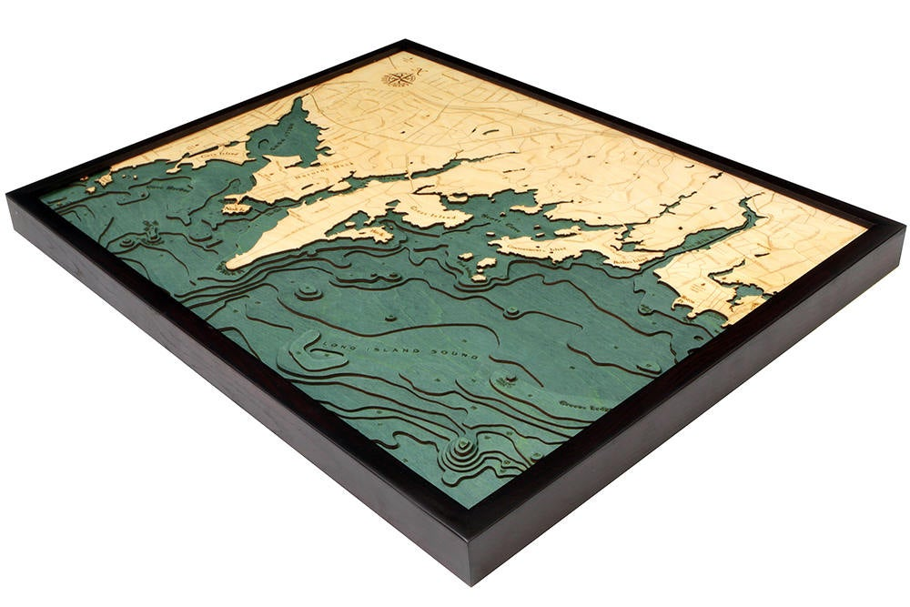 Darien Wood Carved Topographic Depth Chart / Map - Nautical Lake Art