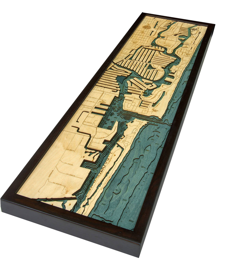 Ft. Lauderdale Wood Carved Topographic Depth Chart / Map - Nautical Lake Art