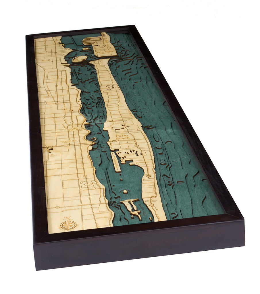 Palm Beach Wood Carved Topographic Depth Chart / Map - Nautical Lake Art
