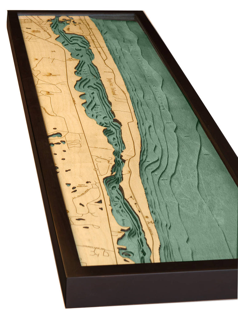 Jupiter Island Wood Carved Topographic Depth Chart / Map - Nautical Lake Art
