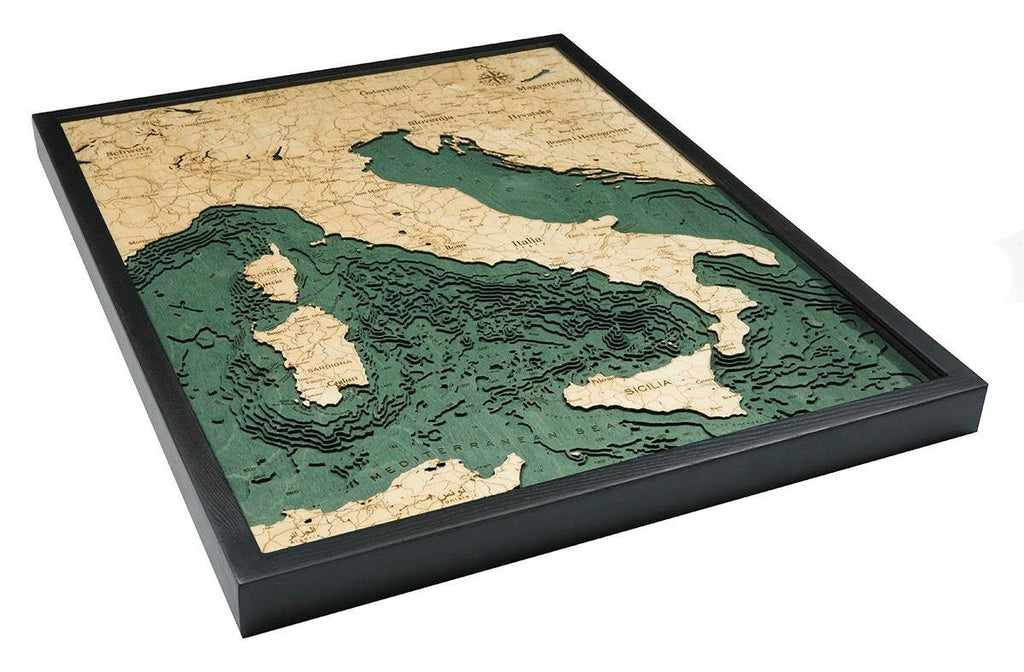 Italy Wood Carved Topographic Depth Chart / Map - Nautical Lake Art
