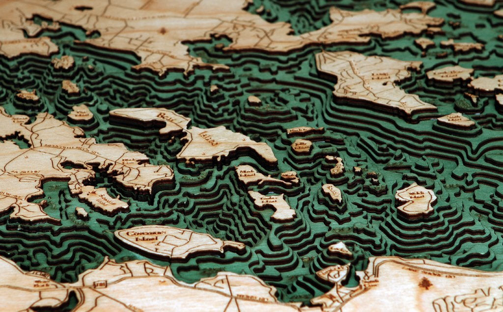 Lake Winnipesaukee Wood Carved Topographic Depth Chart / Map