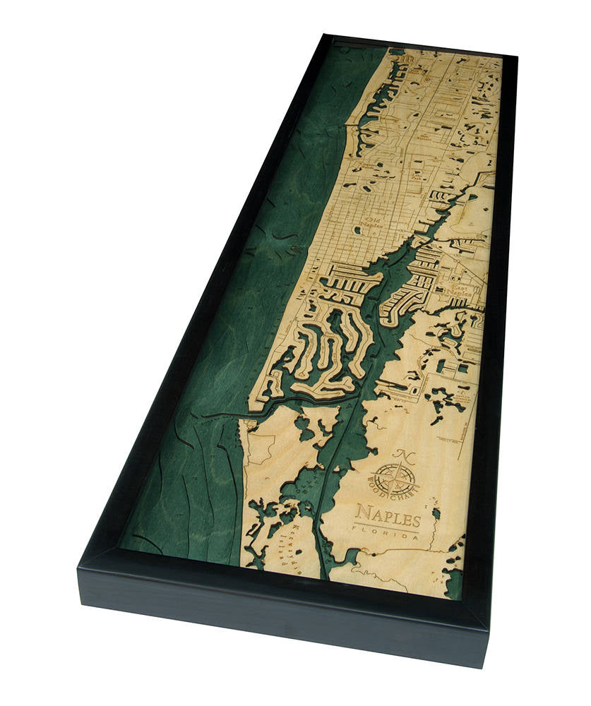 Naples Wood Carved Topographic Depth Chart - Nautical Lake Art