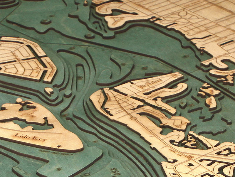 Siesta Key Wood Carved Topographic Depth Chart / Map - Nautical Lake Art