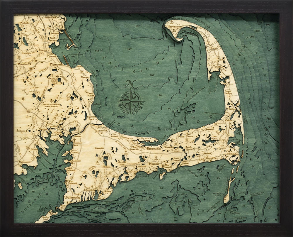 Cape Cod Wood Carved Topographic Depth Chart - Nautical Lake Art