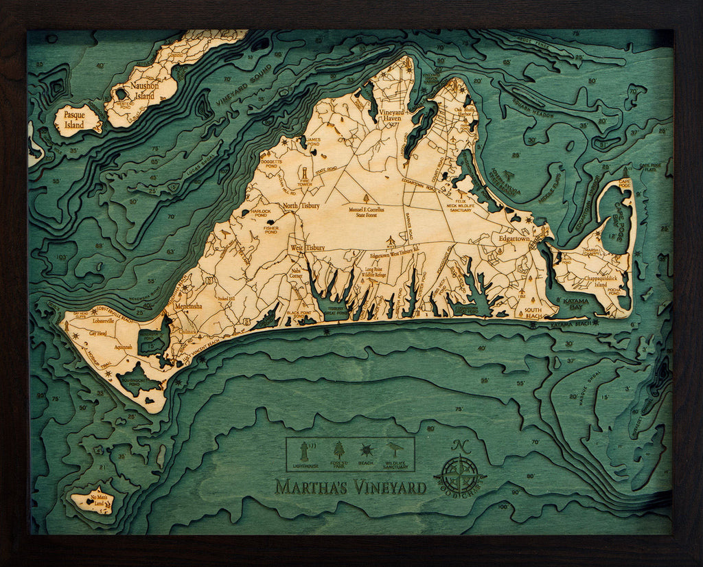 Martha's Vineyard, Massachusetts Wood Carved Topographic Depth Chart / Map - Nautical Lake Art
