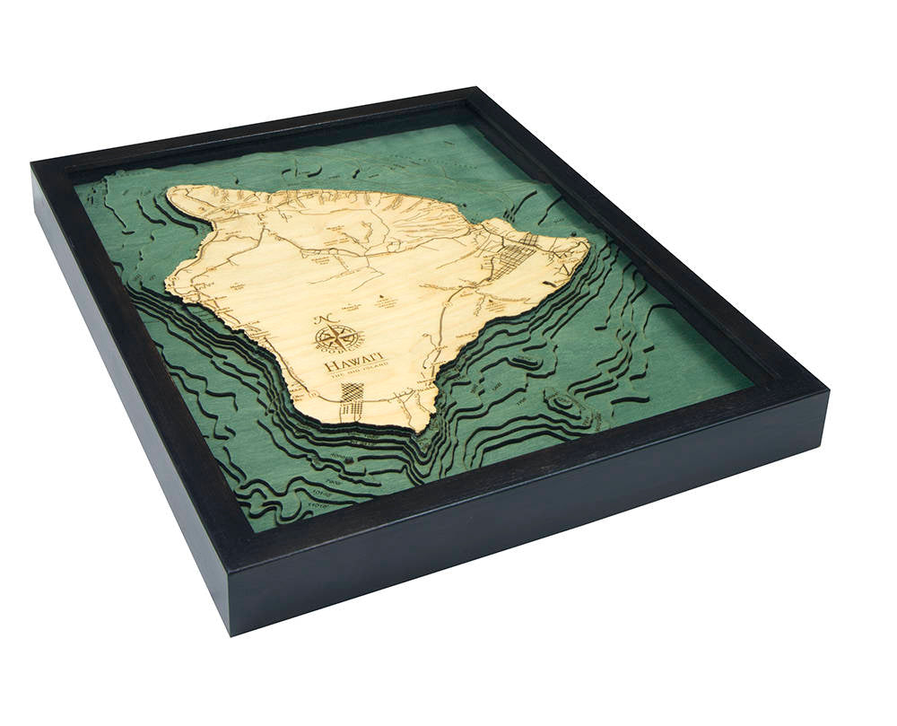 Hawaii (The Big Island) Wood Carved Topographic Depth Chart / Map