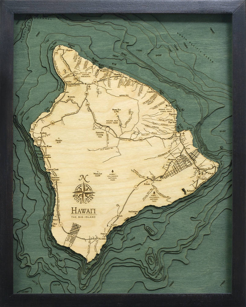 Hawaii (The Big Island) Wood Carved Topographic Depth Chart / Map - Nautical Lake Art