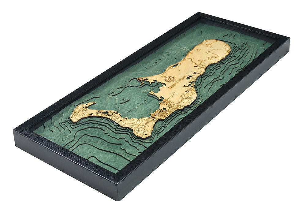Grand Cayman Wood Carved Topographic Map - Nautical Lake Art