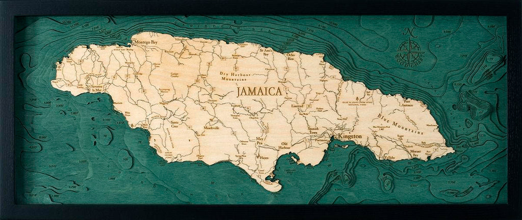 Jamaica Wood Carved Topographic Depth Chart / Map