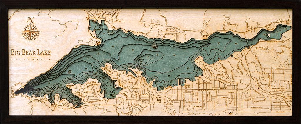 Big Bear Lake Wood Carved Topographic Depth Chart / Map - Nautical Lake Art