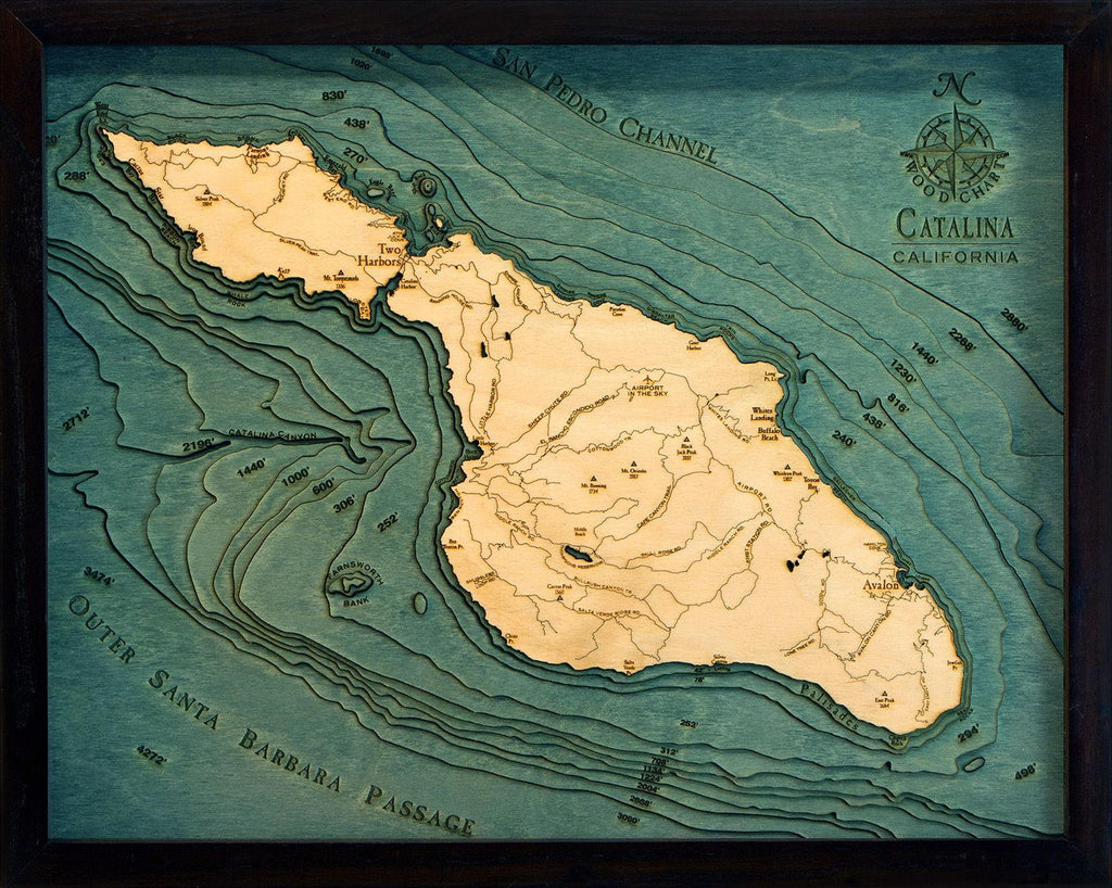 Catalina Island Wood Carved Topographic Depth Chart / Map - Nautical Lake Art