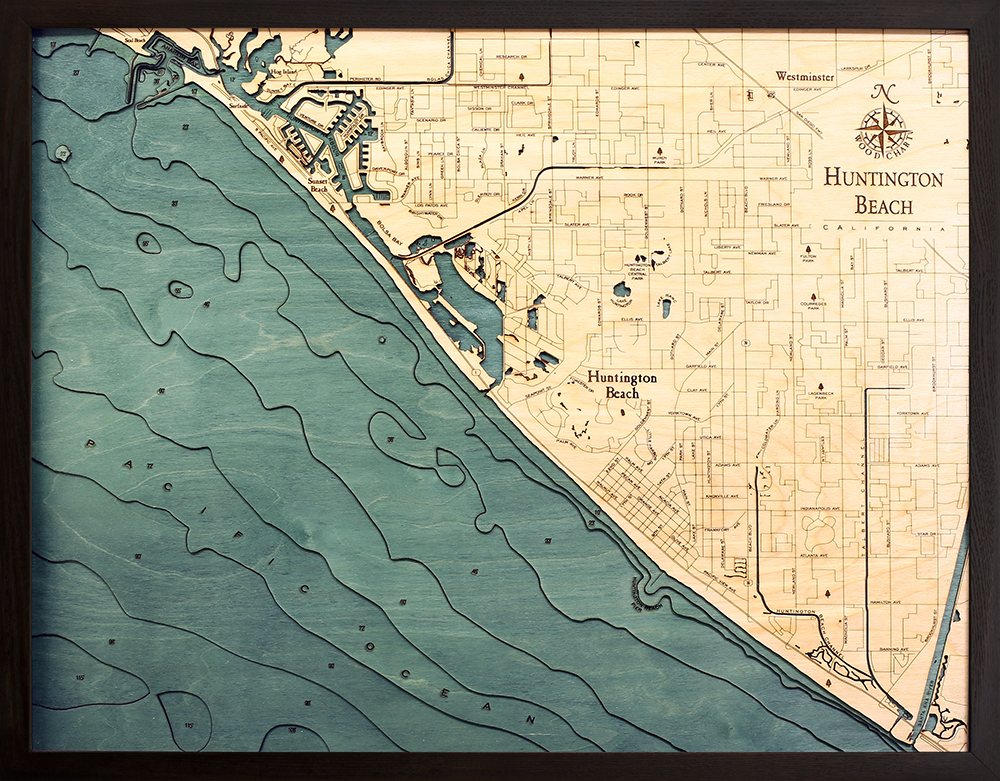 Huntington Beach Wood Carved Topographic Depth Chart / Map - Nautical Lake Art