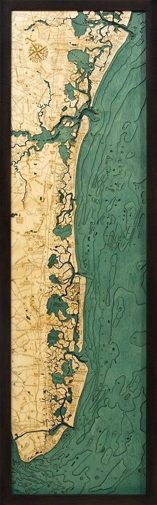 New Jersey South Shore Wood Carved Topographic Depth Chart / Map - Nautical Lake Art