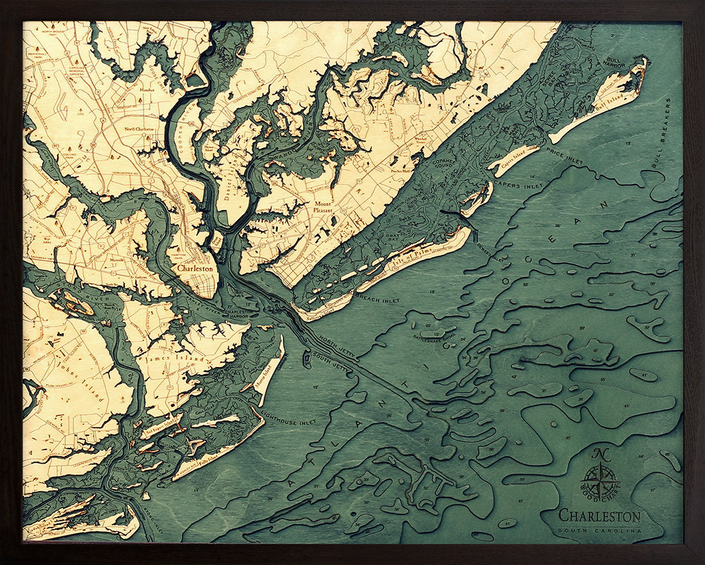 Charleston Wood Carved Topographic Depth Chart / Map - Nautical Lake Art
