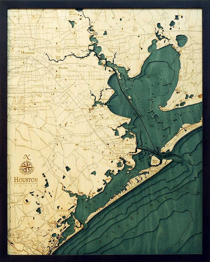 Houston, TX Wood Carved Topographic Depth Chart / Map