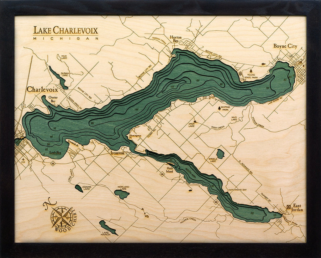 Lake Charlevoix Wood Carved Topographic Depth Chart / Map - Nautical Lake Art