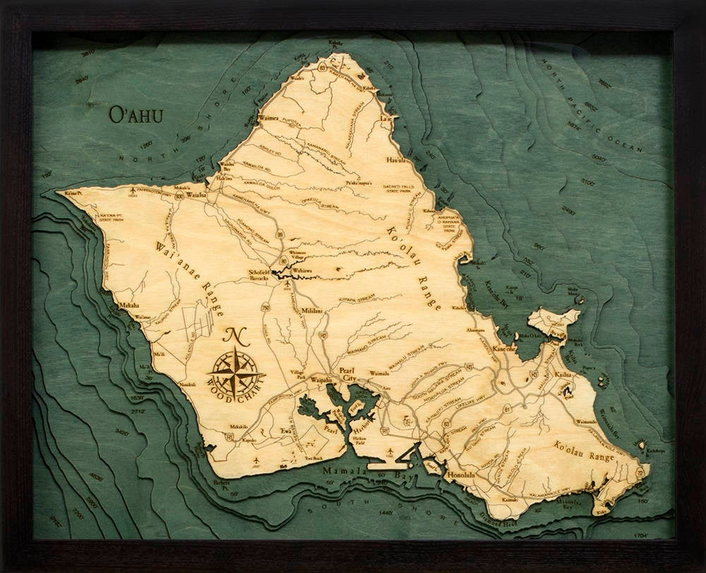 Oahu Wood Carved Topographic Depth Chart / Map