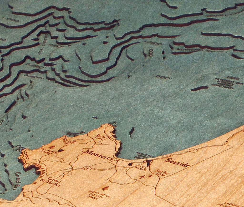 Monterey Bay Wood Carved Topographic Depth Chart / Map