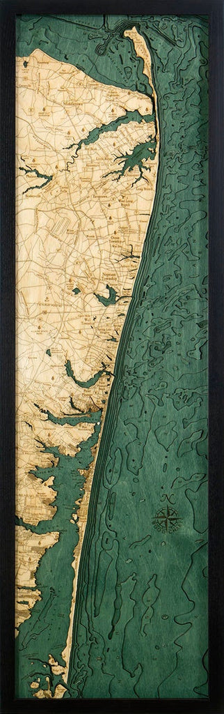 New Jersey North Shore Wood Carved Topographic Depth Chart / Map - Nautical Lake Art