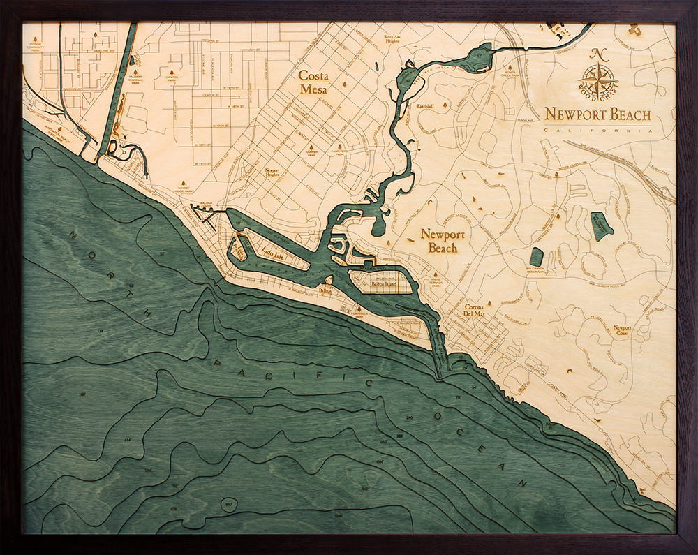 Newport Beach Wood Carved Topographic Depth Chart / Map