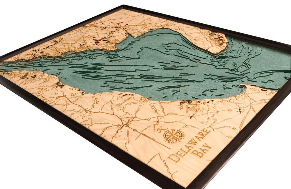 Delaware Bay Wood Carved Topographic Depth Chart / Map - Nautical Lake Art