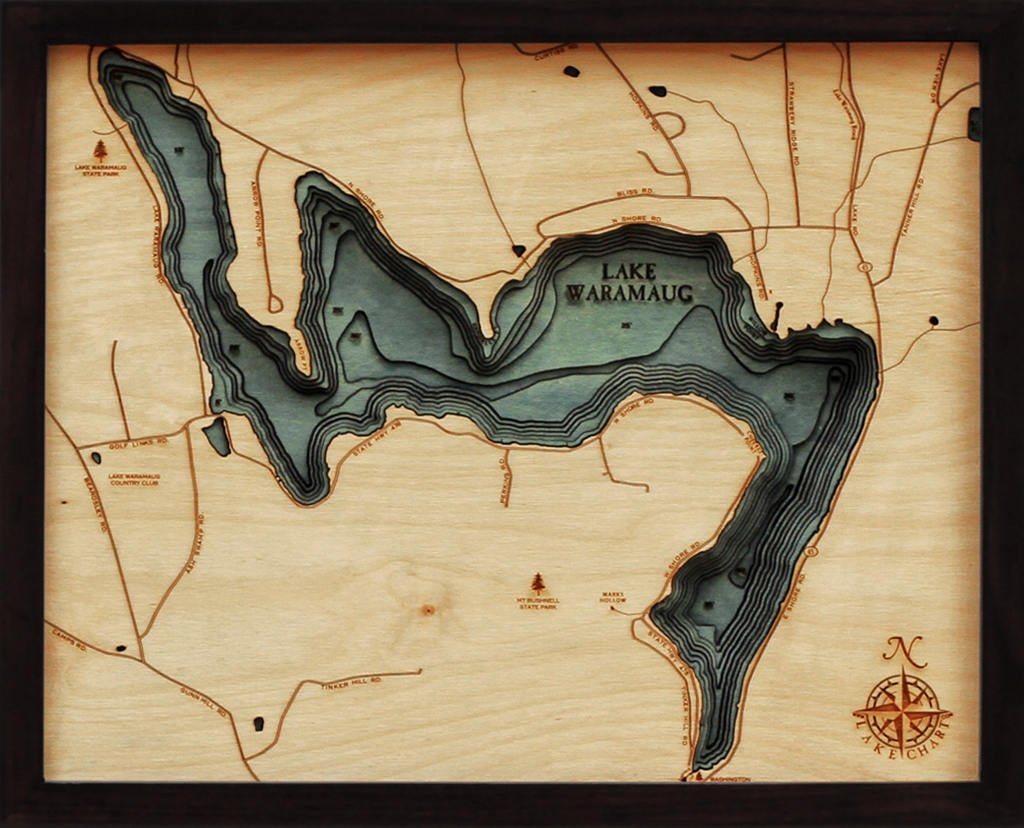 Lake Waramaug Wood Carved Topographic Depth Chart / Map - Nautical Lake Art