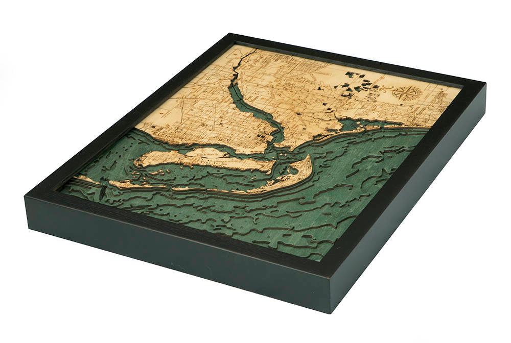 Ft. Myers Wood Carved Topographic Depth Chart / Map