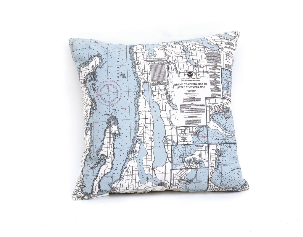 Grand Traverse Bay, MI Indoor/Outdoor Nautical Pillow