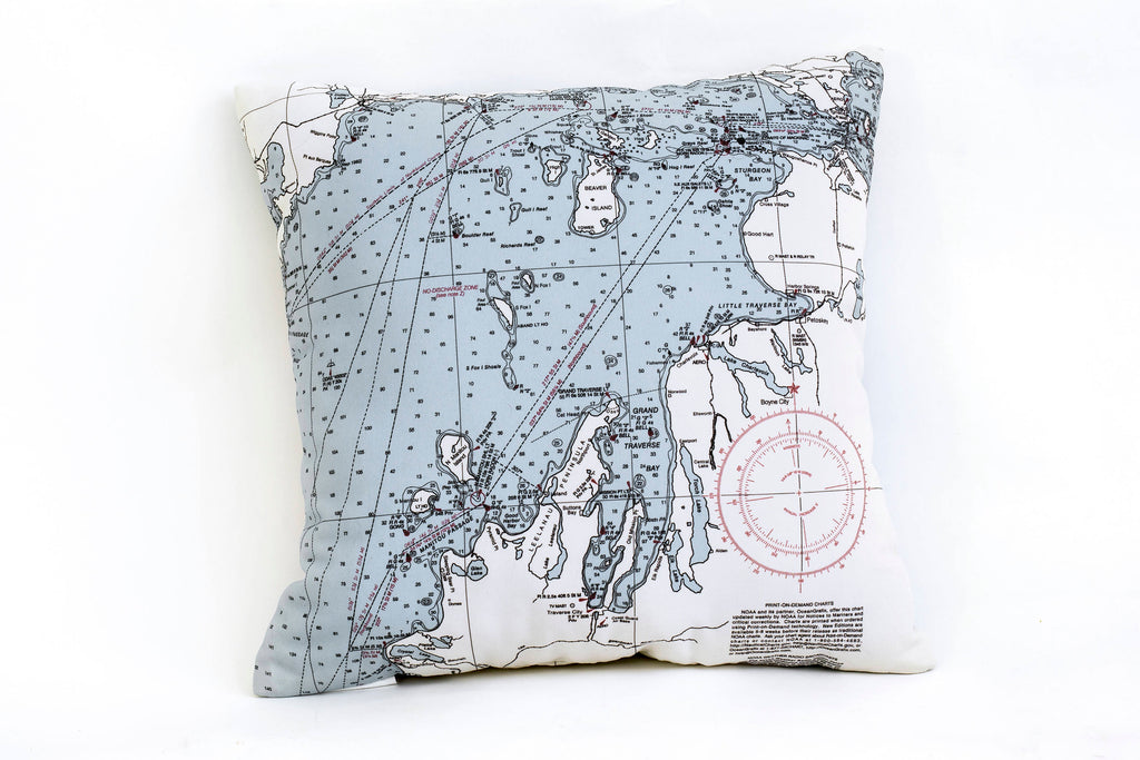 Northwest Michigan Indoor/Outdoor Nautical Pillow - Nautical Lake Art