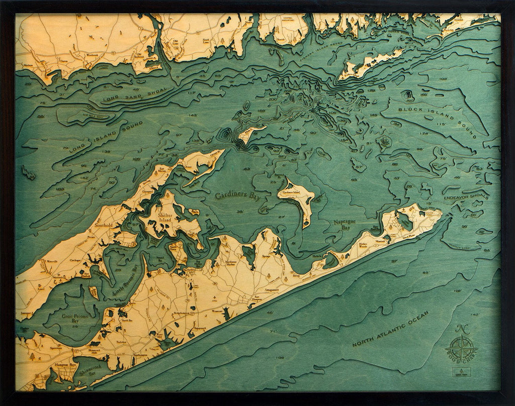 East Long Island Sound Wood Carved Topographic Depth Chart / Map - Nautical Lake Art
