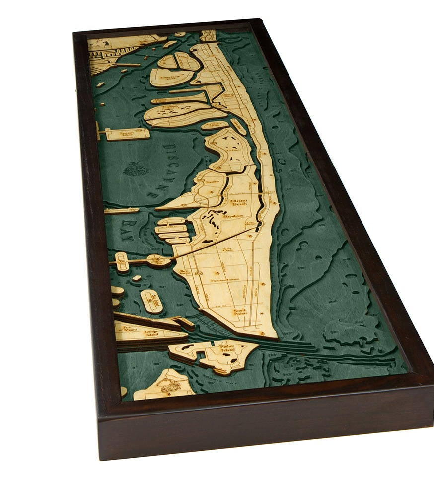 Miami Beach Wood Carved Topographic Depth Chart / Map - Nautical Lake Art